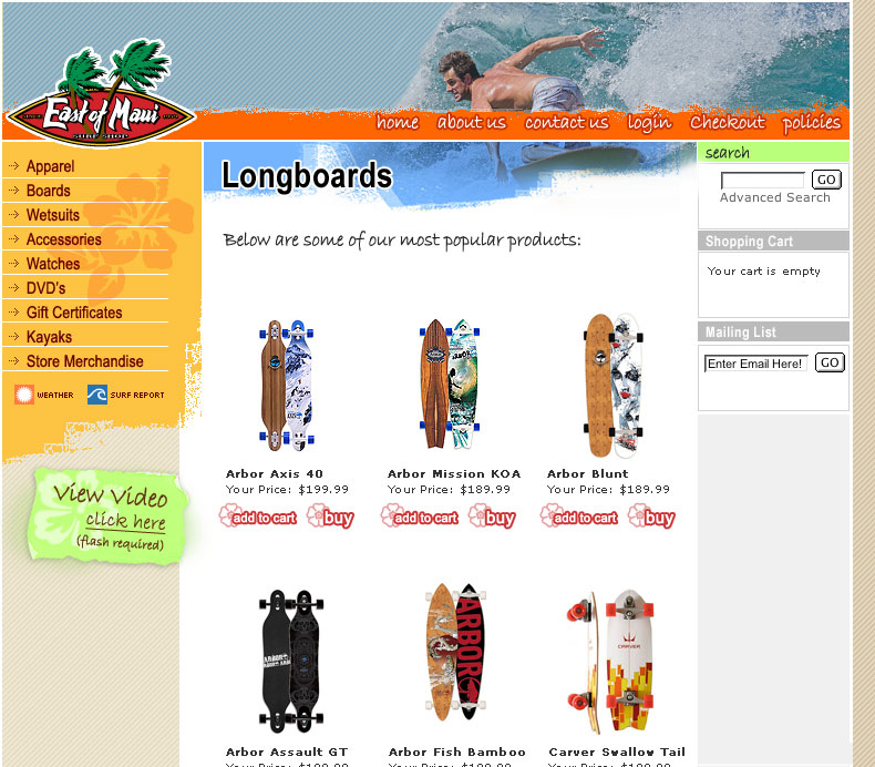 East of Maui Surf Shop: Web Interface Design / Front end / eCommerce